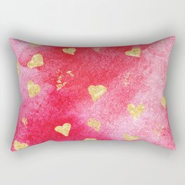 Red And Gold Watercolor Hearts Textures And Patterns Rectangular Pillow