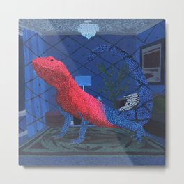 Red Headed Agama Lizard (Red and Blue) Metal Print