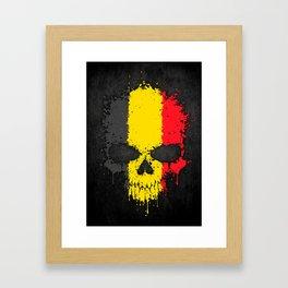 Flag of Belgium on a Chaotic Splatter Skull Framed Art Print