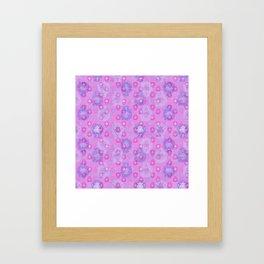 Lotus flower - rich rose woodblock print style pattern Framed Art Print