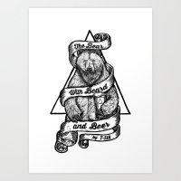 The Bear with Beard and Beer Art Print