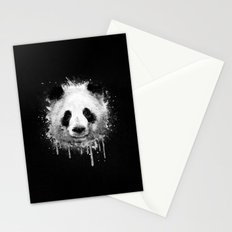 Cool Abstract Graffiti Watercolor Panda Portrait in Black & White  Stationery Cards