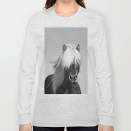 Portrait of a Horse in Scotish Highlands Long Sleeve T-shirt