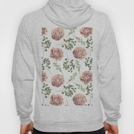 Roses Pattern on White Hoody