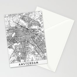 Amsterdam White Map Stationery Cards