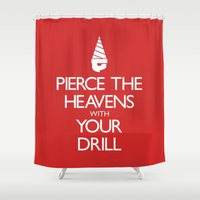 gurren lagann Shower Curtains featuring Pierce The Heavens With Your Drill by 5eth
