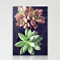 succulents Stationery Cards featuring Succulents  by Yellow Barn Studio