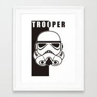 trooper Framed Art Prints featuring Storm Trooper by SpaceCatsBonanzaParty