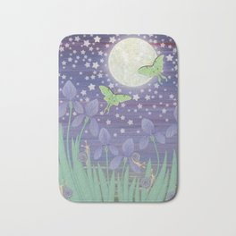 Moonlit stars, luna moths, snails, & irises Bath Mat