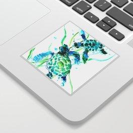 Sea Turtles, Turquoise blue Design Sticker