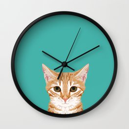 Tabby orange cat head cat breed gifts cute tabby cats must haves Wall Clock