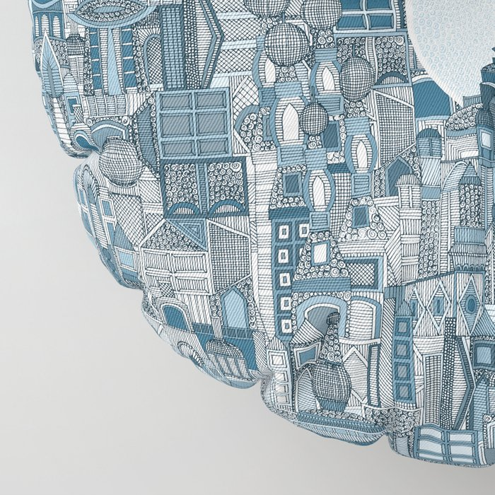 space city mono blue Floor Pillow