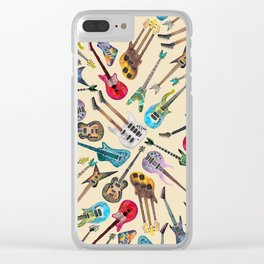 Electric Guitars Pattern Watercolor Clear iPhone Case