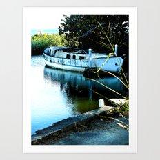 Old boat in Rincon Puerto Rico Art Print