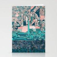 washington dc Stationery Cards featuring washington dc city skyline by Bekim ART
