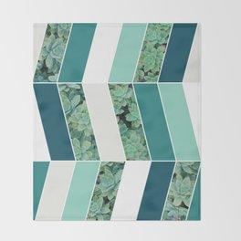 Teal Herringbone #society6 #teal #succulent Throw Blanket
