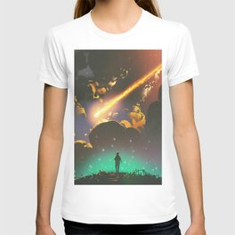 Fantasy Illustration Graphic Design Anime Japanese Inspired World Meteor Passing In Glowing Sky T-shirt