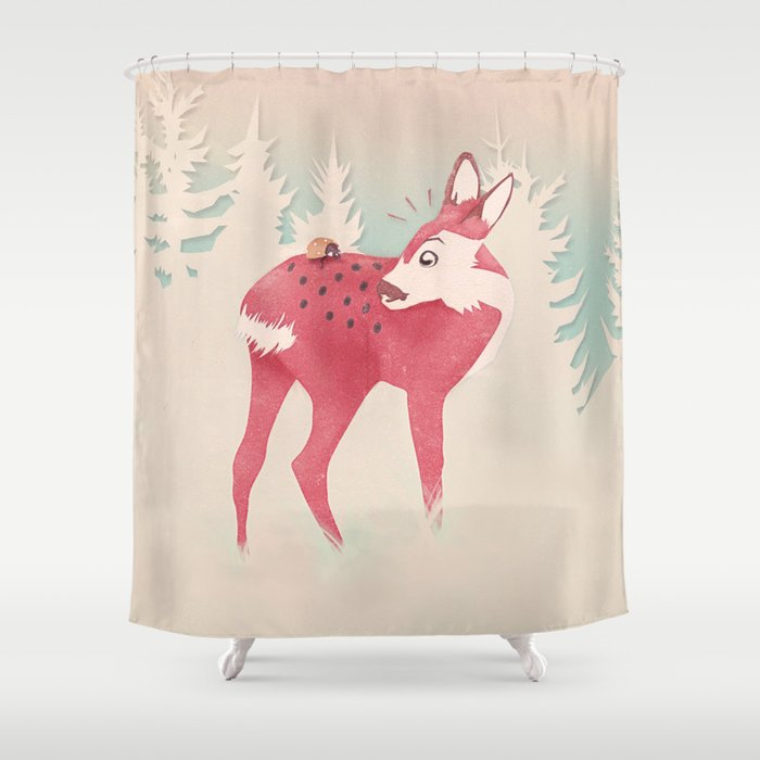 Oh Deer What The Bug Shower Curtain By Mina Burtonesque