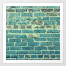 Vintage Retro Blue Bricks Art Print