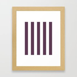 Dark byzantium purple - solid color - white vertical lines pattern Framed Art Print