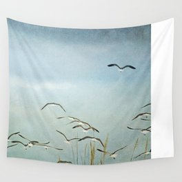 Gull Flock on the Wing Wall Tapestry