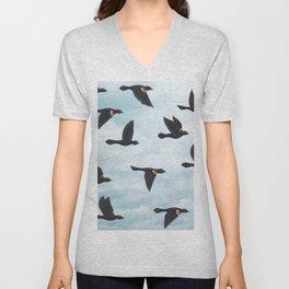 red-winged blackbirds and blue sky Unisex V-Neck