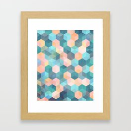 Child's Play 2 - hexagon pattern in soft blue, pink, peach & aqua Framed Art Print