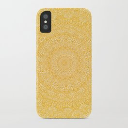The Most Detailed Intricate Mandala (Mustard Yellow) Maze Zentangle Hand Drawn Popular Trending iPhone Case