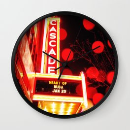 Rainy Night at the Theatre Market Street Redding California Wall Clock