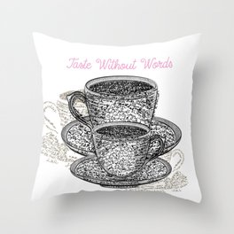 Coffee mugs with fresh coffee. Cups from signatures and words Throw Pillow