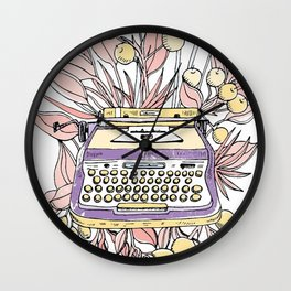 Vintage typewriter. Purple Wall Clock