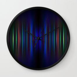 Blue and green blurred stripes pattern Wall Clock