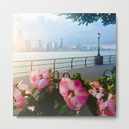 Battery Park New York City Skyline with Pink Hibiscus Flowers Metal Print