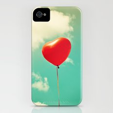 Red Heart Balloon in a Vintage Turquoise Sky  Slim Case iPhone (4, 4s)