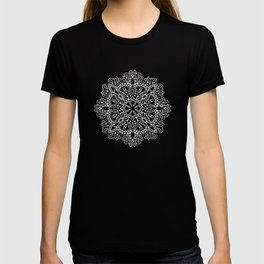 Mandala Vintage White on Ocean Fog Gray T-shirt