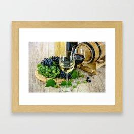 Glasses of Wine plus Grapes and Barrel Framed Art Print