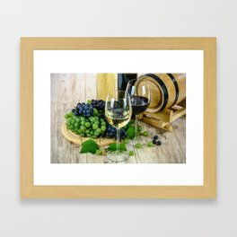 Glasses of Wine plus Grapes and Barrel Framed Art Print