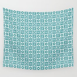 Lines and shapes - Dark Teal Wall Tapestry
