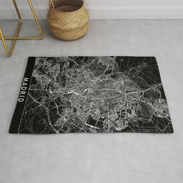 Madrid Black Map Rug