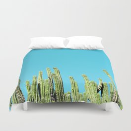Desert Cactus Reaching for the Blue Sky Duvet Cover
