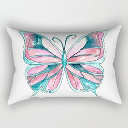 Pink and Blue Watercolor Butterfly Rectangular Pillow