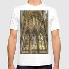 Rochester Cathedral Stained Glass Windows White MEDIUM Mens Fitted Tee