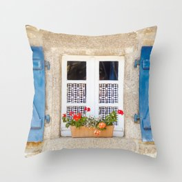Old window with shutters and flowers in France Throw Pillow