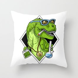 T-Rex Dinosaur Weed Throw Pillow