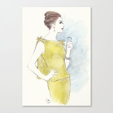 'Natalia' Watercolor Fashion Illustration Canvas Print