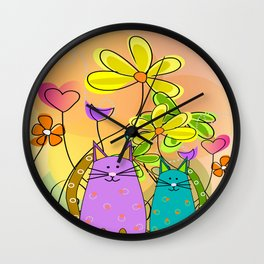 Whimsical Cats and Flowers II Wall Clock