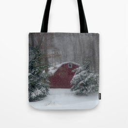 Red Barn in a Snow Storm Tote Bag