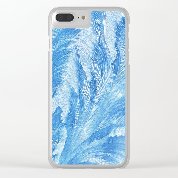 Blue frost abstract Clear iPhone Case