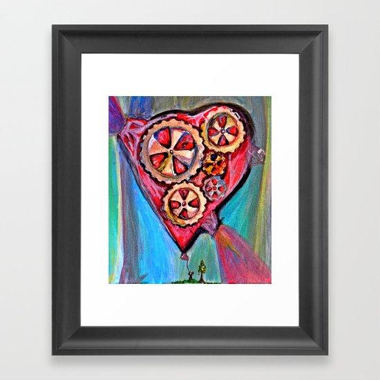 Pulling down the heart balloon Framed Art Print