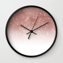 Girly Faux Rose Gold Sequin Glitter White Ombre Wall Clock